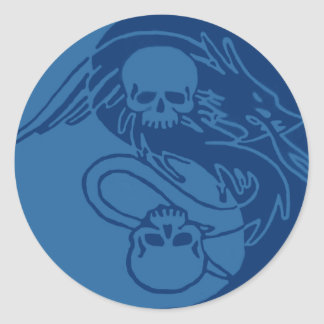 Yin Yang Skulls 2 Classic Round Sticker