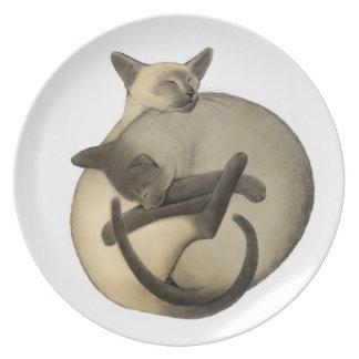 Yin Yang Sleeping Siamese Cats Plate