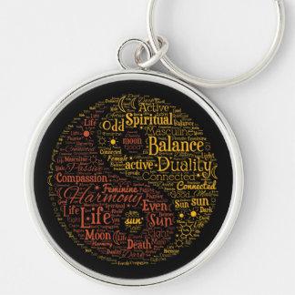Yin Yang Spiritual Word Art Silver-Colored Round Keychain