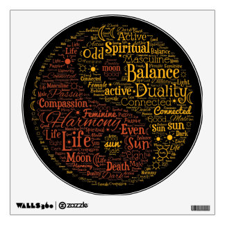 Yin Yang Spiritual Word Art Wall Decal