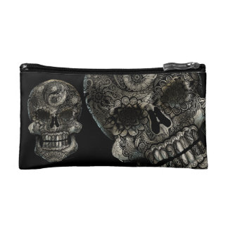 Yin Yang Sugar Skull Makeup Bag
