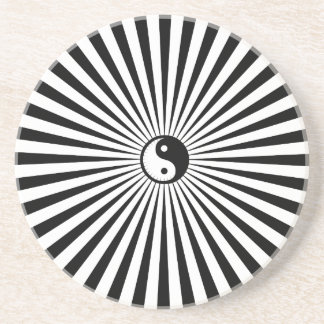 Yin-Yang Sun Wheel-Black/White Coaster