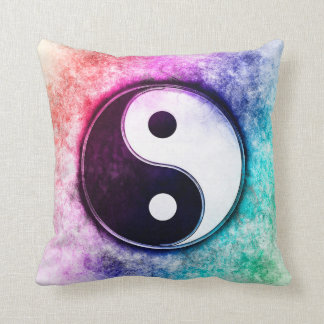 Yin Yang - Sunset Over The Green Forest Throw Pillow