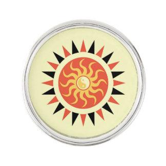 Yin yang sunshine lapel pin