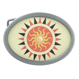 Yin yang sunshine oval belt buckle