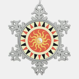 Yin yang sunshine pewter snowflake ornament