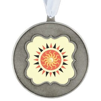 Yin yang sunshine scalloped pewter ornament
