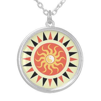 Yin yang sunshine silver plated necklace