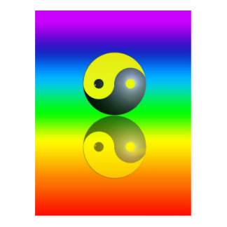 Yin & Yang symbol on Chakra colors motive 1 Postcard
