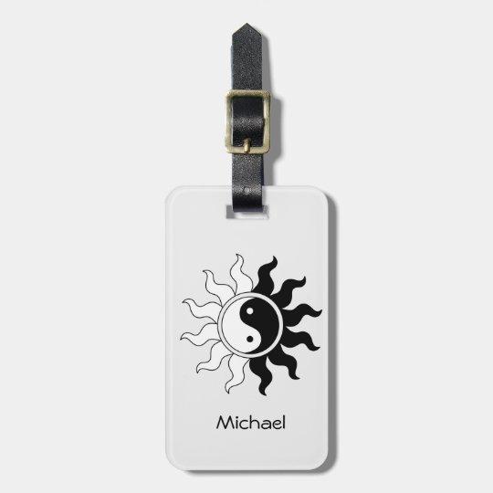 Yin Yang symbol sun Luggage Tag