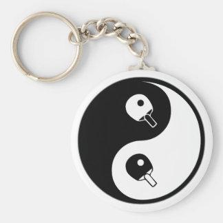 Yin Yang Table Tennis Basic Round Button Keychain