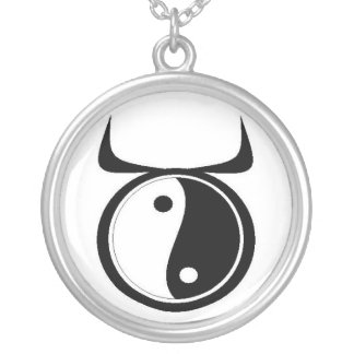 Yin-Yang Taurus Silver Plated Necklace