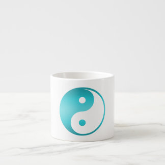 Yin Yang Teal Blue Illustration Template Espresso Cup