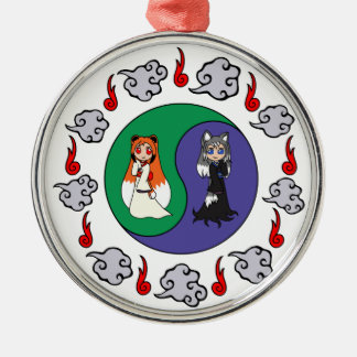 Yin & Yang The Cute Kitsune Sisters (Fox Girls) Silver-Colored Round Ornament