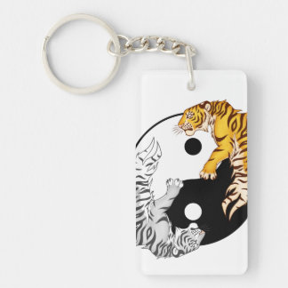 Yin & Yang Tigers Rectangle Single-Sided Keychain