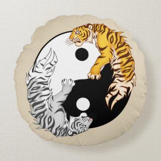 "Yin & Yang Tigers Round Throw Pillow 16"" x 16"""