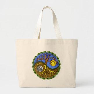 Yin & Yang Tree and Badger Large Tote Bag