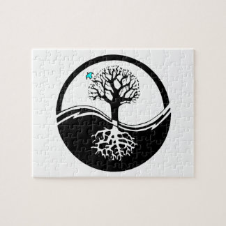 Yin Yang Tree Of Life Black & White Jigsaw Puzzle