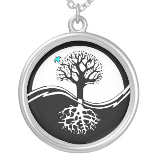 Yin Yang Tree Of Life Black & White Silver Plated Necklace