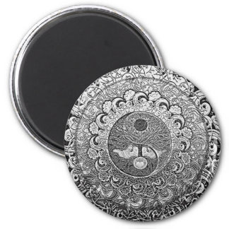 Yin Yang Tree of Life in Silver Colors 2 Inch Round Magnet