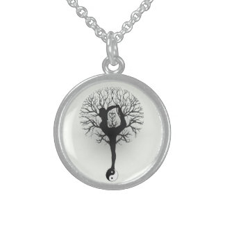 Yin Yang, Tree of Life, Yoga, Harmony, Balance Sterling Silver Necklace