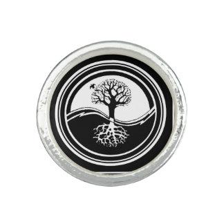 Yin Yang Tree Symbol Black and White Family Rings
