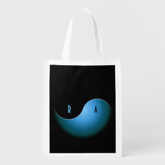 yin yang - turquoise reusable grocery bag