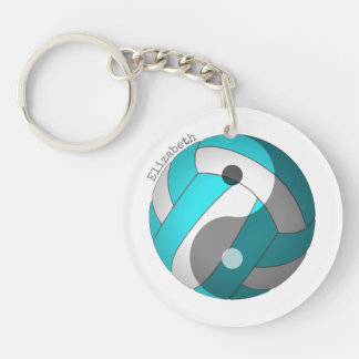 yin yang volleyball turquoise or ANY colour w name Keychain