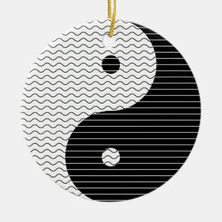 Yin Yang Waves Ceramic Ornament