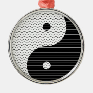 Yin Yang Waves Metal Ornament