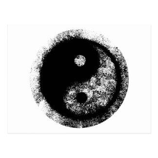 Yin Yang White Black Art jGibney The MUSEUM Zazzle Postcard