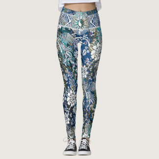 Yin Yang White Dragon Flower Leggings