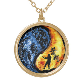 "Yin Yang - Wing Chun ""Kung Fu"" Ip Man Linage Gold Plated Necklace"