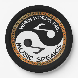 Yin Yang with music words Paper Plate