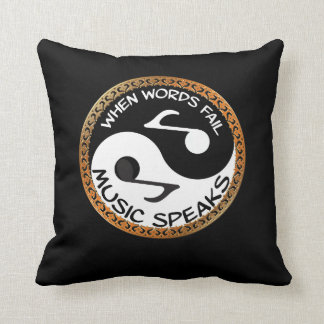 Yin Yang with music words Throw Pillow