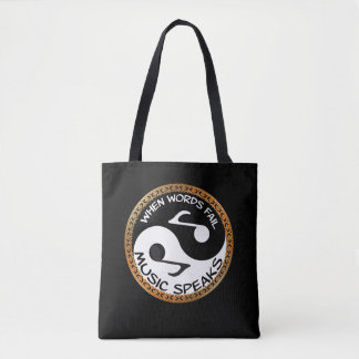 Yin Yang with music words Tote Bag