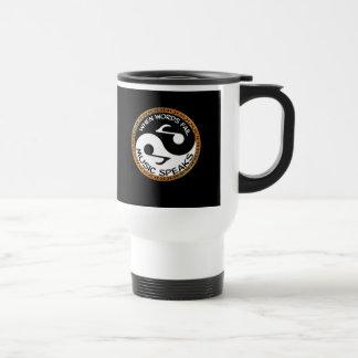 Yin Yang with music words Travel Mug
