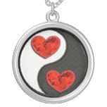 Yin Yang with red burning hearts Necklaces