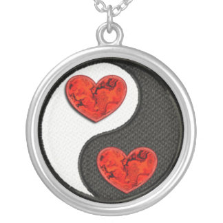 Yin Yang with red burning hearts Round Pendant Necklace