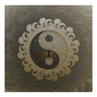 Yin Yang with Tree of Life by Amelia Carrie in tan Poster