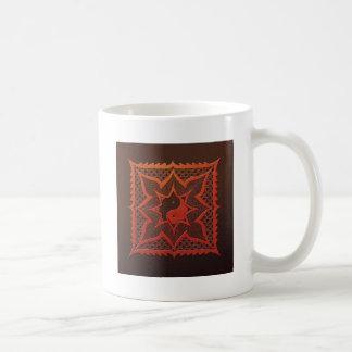 Yin Yang Woodcut Mandala Coffee Mugs