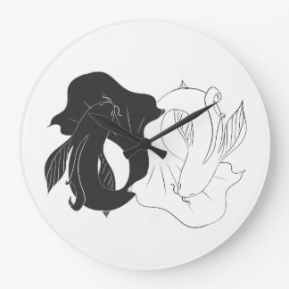 Ying and Yang koi Large Clock