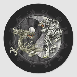 Ying and Yang Tiger Round Sticker