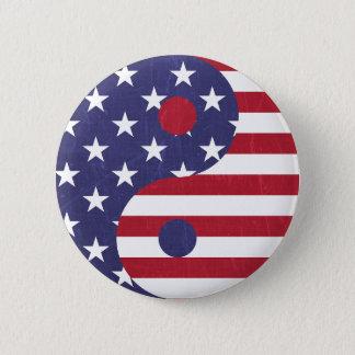 Ying Yang American Flag Symbol Button