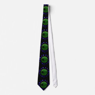 ying yang and tree of life neon blue and green tie