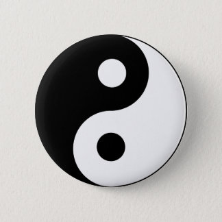 Ying Yang Black and White Symbol 2 Inch Round Button
