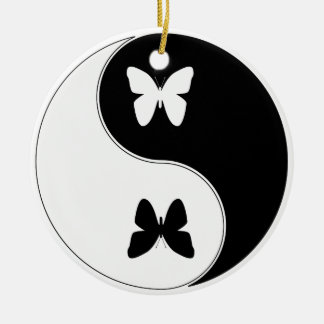 Ying Yang Butterfly Round Ceramic Ornament