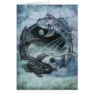 Ying Yang Carp Greeting Card