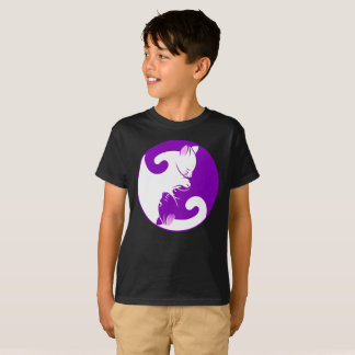 Ying Yang Cat Purple Circle Of Life Kids T-Shirt