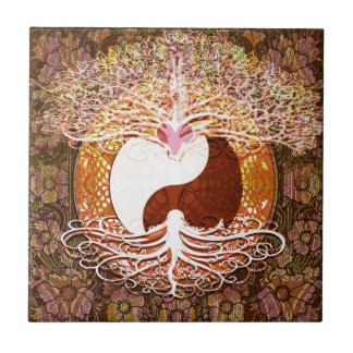 Ying Yang Heart Tree of Life Tile